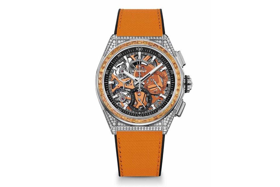 В оранжевый цвет в часах Defy 21 Spectrum окрашена платина механизма, сапфиры огранки багет по безелю и ремешок