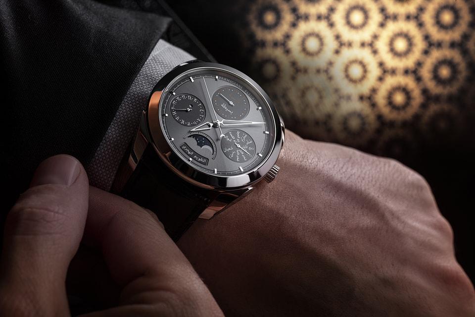 Образ часов Hijri Perpetual Calendar вдохновлен лаконичной эстетикой Parmigiani Fleurier и элементами арабской архитектуры