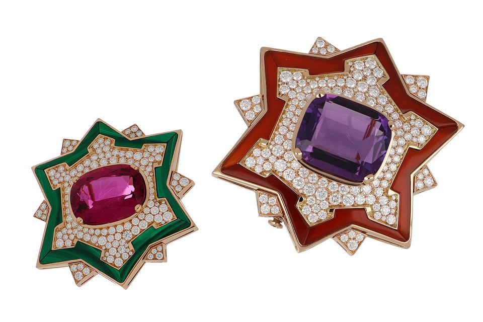 Форма двух брошей из коллекции Magnifica воспроизводит силуэт замка Сфорцеско, исторического символа Милана