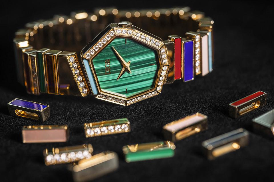 Составные элементы коллекции Gem Dior – восьмиугольный циферблат и наборный браслет из полосок поделочных камней
