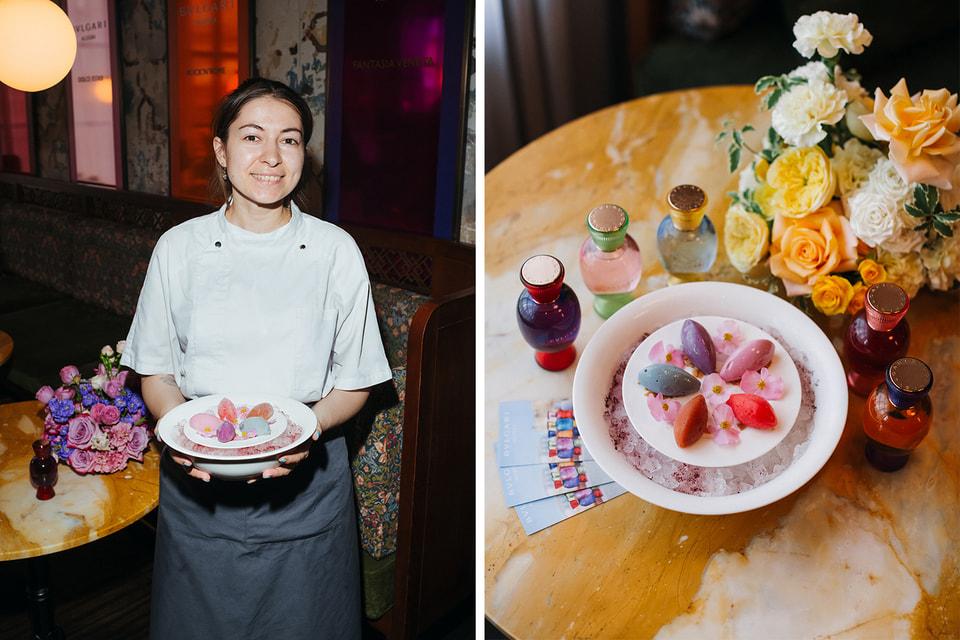 Десерт Bvlgari Allegra Dolce Estasi создан  шеф-кондитером Buro.Tsum Юлией Посаженниковой