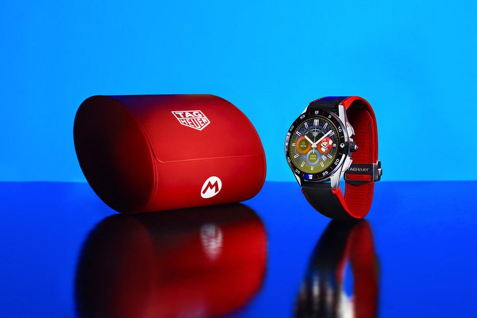 На циферблате часов TAG Heuer x Super Mario Limited Edition оживает в цифровом формате знаменитый водопроводчик Марио
