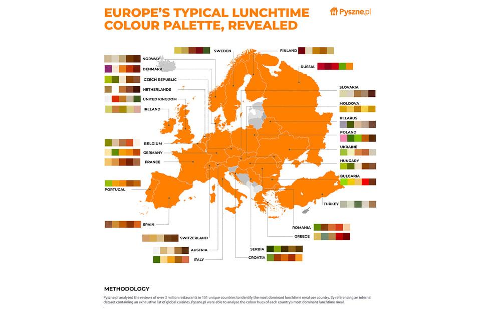 Для России характеры красный и оранжевый цвета, для Франции – коричневый и бежевый, а для Италии – зеленый и оранжевый