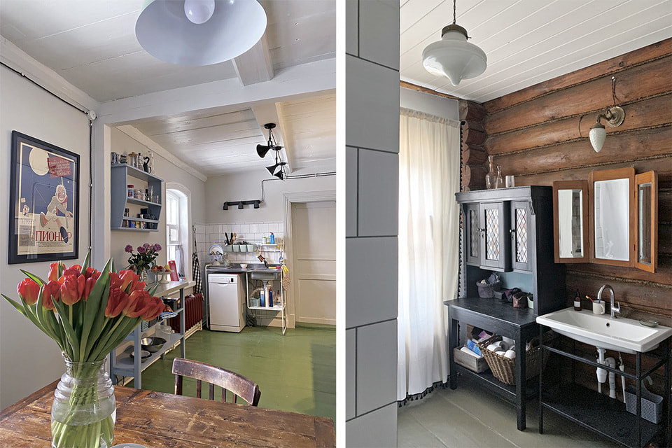 Кухня-столовая и ванная комната