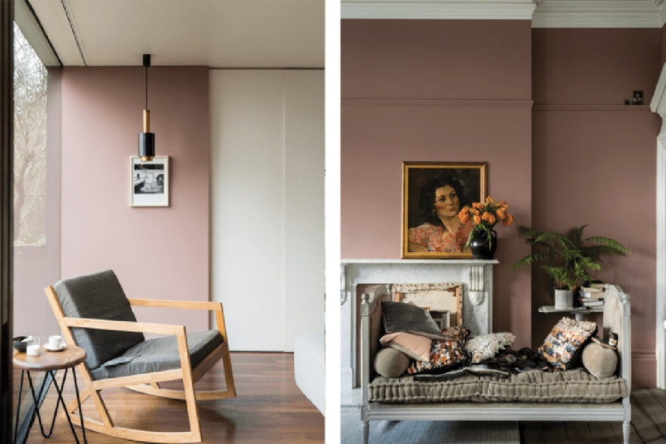 Приглушенный розовый Sulking Room Pink создает романтическую атмосферу