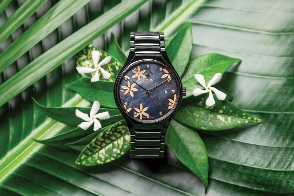 Циферблаты часов из коллекции Rado True x Great Gardens of the World украшают композиции на мотивы из мира флоры