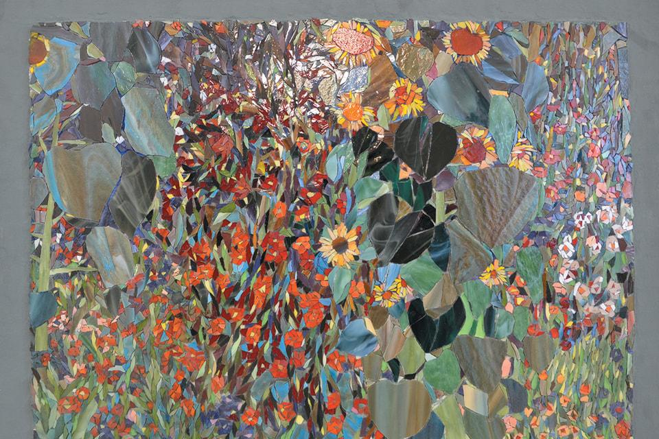 Мозаичная вариация картины Густава Климта «Подсолнухи в деревенском саду»