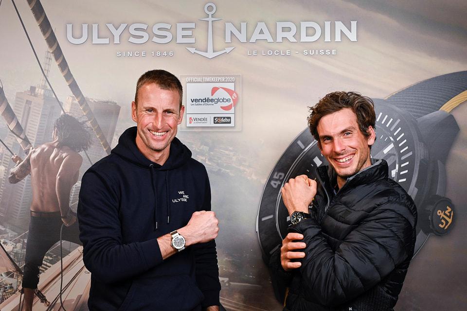 Глава  Ulysse Nardin Патрик Прюньо cо шкипером Шарли Далином, который занял второе место в гонке и получил в качестве приза от швейцарского часового бренда хронометр Diver X Cape Horn