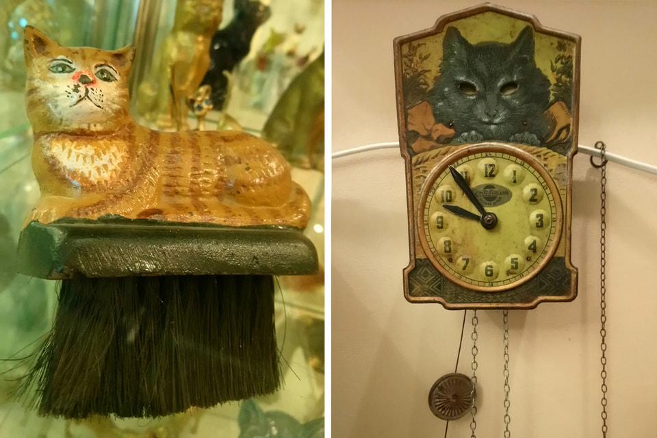 Фото слева: кот-щетка. Серия «Практичная Европа». Это не просто статуэтки, а практичные вещи: есть кошки-подставки, пепельницы, стаканы, рюмки, сумки, ложки. / Фото справа: часы-ходики из легендарного фильма «Место встречи изменить нельзя»