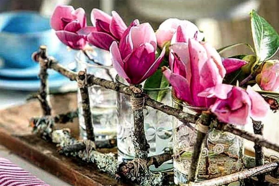 Кашпо для цветов из веток
